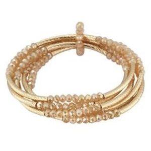 Shimmery beaded stretch bracelet set